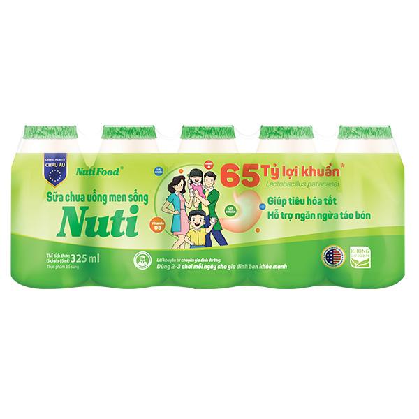 Lốc 5 Sữa Chua Uống Men Sống Nuti Tự Nhiên 65 Ml