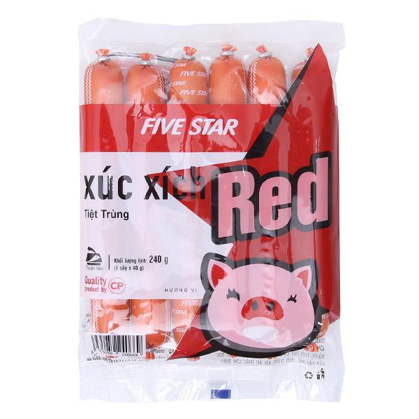 Xúc Xích Tiệt Trùng Five Star Red Gói 6 Cây*40G