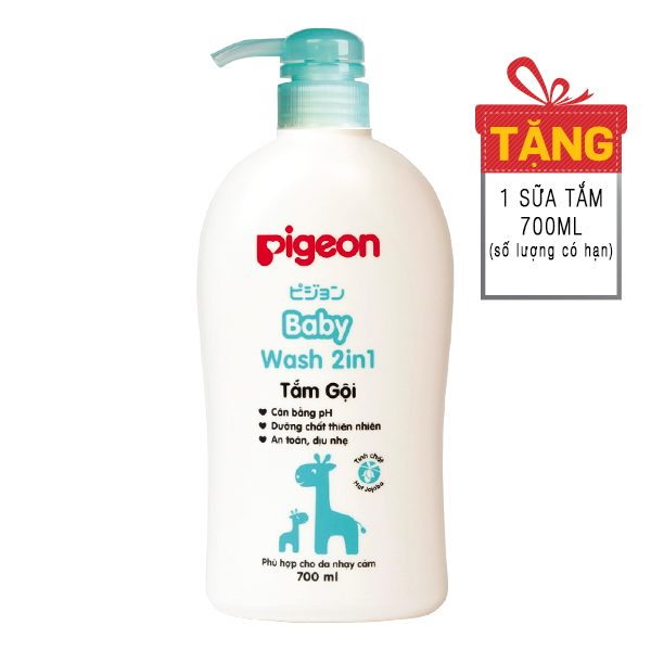 Sữa Tắm Gội 2in1 Pigeon Chiết Xuất Hạt Jojoba Chai 700Ml