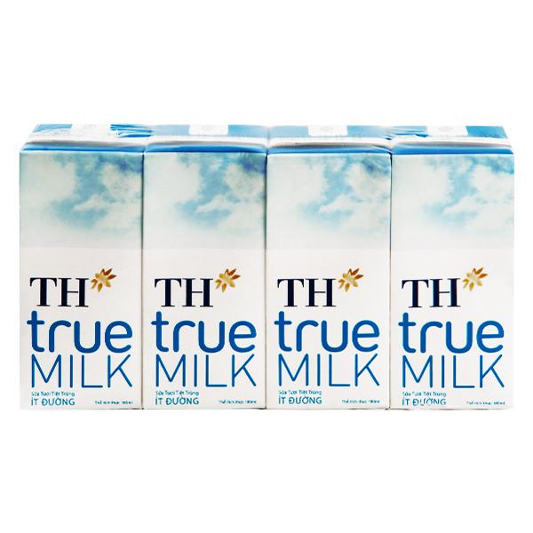Lốc 4 Sữa Tươi Tiệt Trùng TH True Milk Ít Đường Hộp Giấy 180Ml