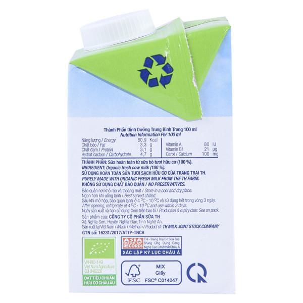 Sữa Tươi Tiệt Trùng TH True Milk Organic Nguyên Chất 500Ml