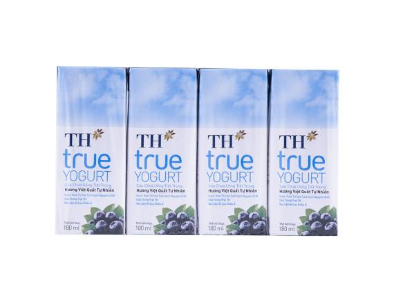 Lốc 4 Sữa Chua Uống Tiệt Trùng True Milk Việt Quất 180Ml