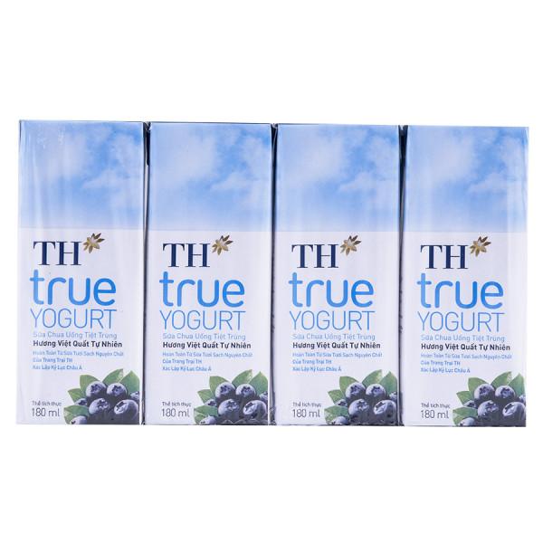 Lốc 4 Sữa Chua Uống Tiệt Trùng TH True Yogurt  Việt Quất 180Ml