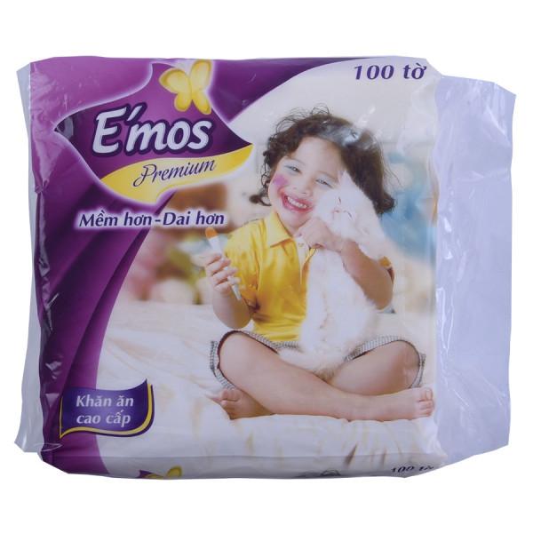 Giấy Ăn E'Mos Premium 100 Tờ 1 Lớp