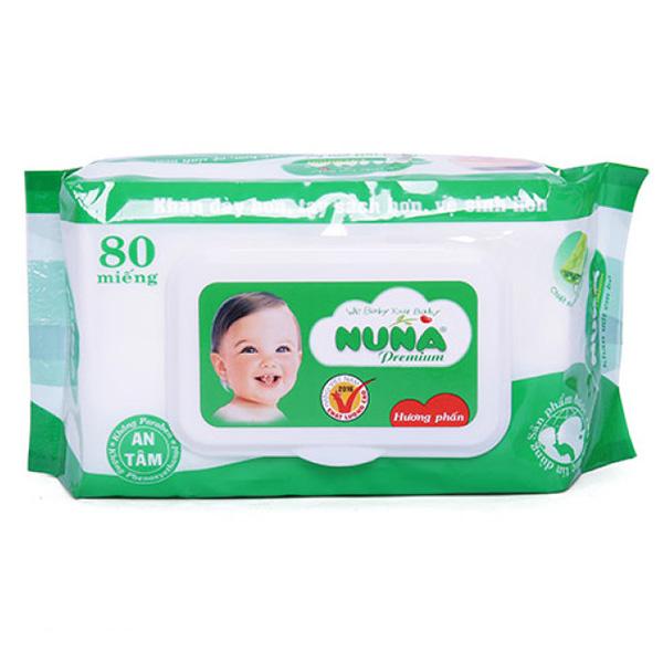 Khăn Ướt Baby Nuna Hương Phấn 80 Miếng