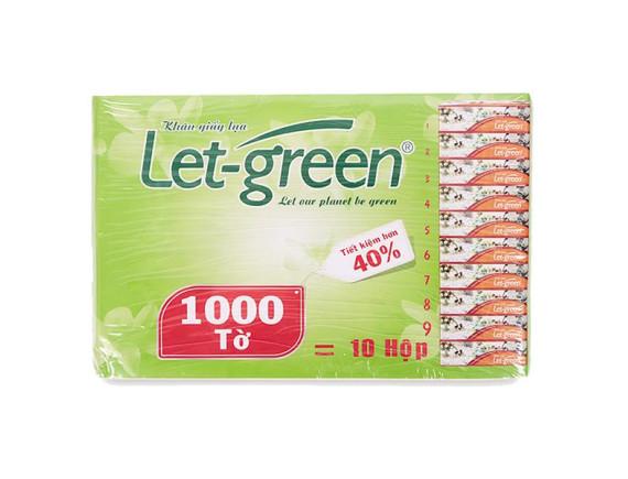 Gói Bổ Sung Khăn Giấy Hộp Let Green 1000 Tờ