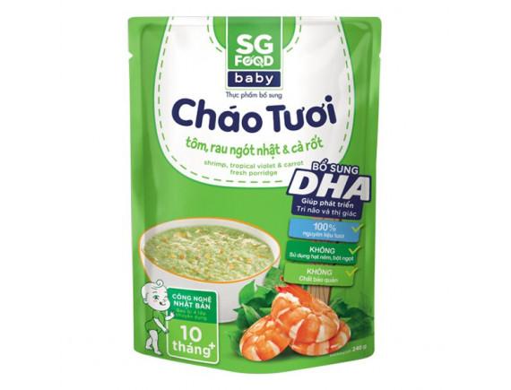 Cháo Tươi SG Food Baby Tôm, Rau Ngót Nhật & Cà Rốt 240G