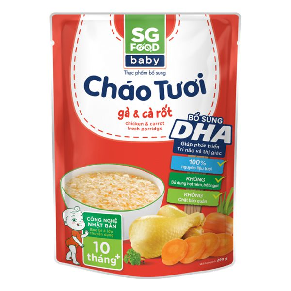 Cháo Tươi SG Food Baby Gà Cà Rốt 240G