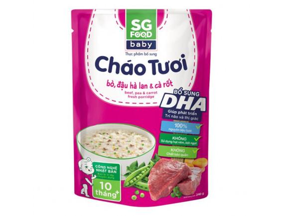 Cháo Tươi SG Food Baby Bò & Đậu Hà Lan & Cà Rốt 240G