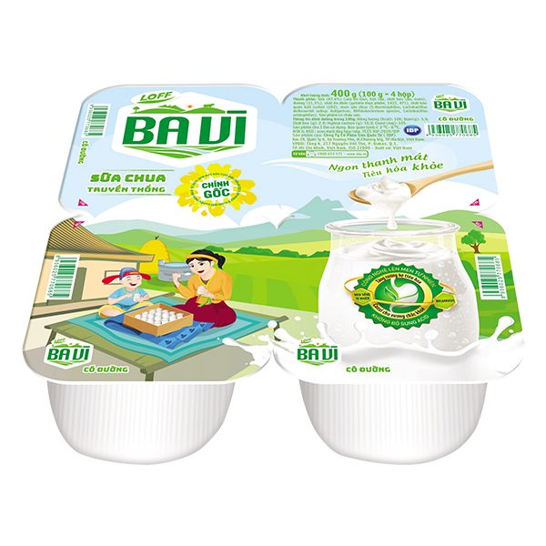 Lốc 4 Sữa Chua Ăn Ba Vì 100% Sữa Tươi 100G