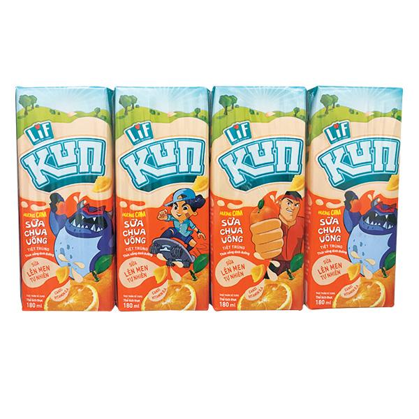 Lốc 4 Sữa Chua Uống Lif  Kun Cam 180Ml