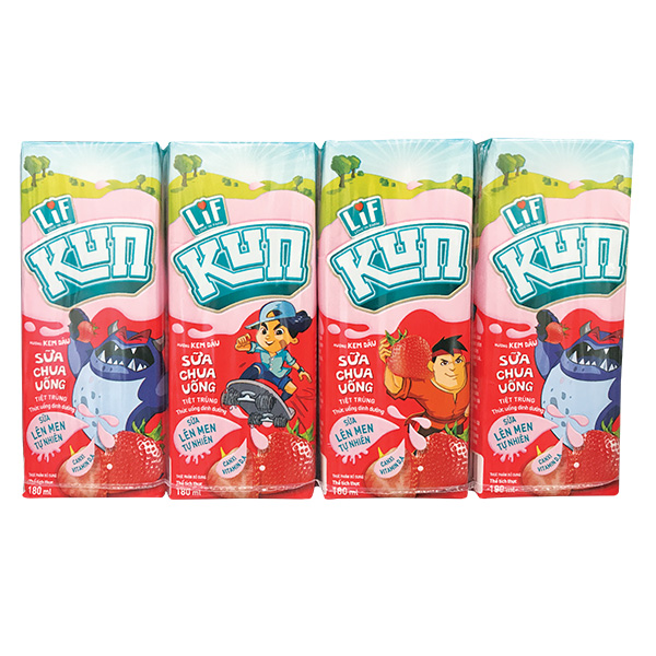Lốc 4 Sữa Chua Uống Lif Kun Dâu 180Ml