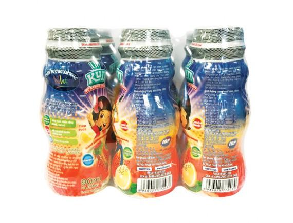 Lốc 6 Sữa Chua Uống Tiệt Trùng Kun Kem Cam Chai Nhựa 90Ml
