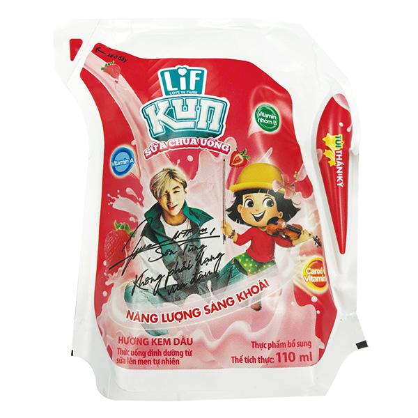 Sữa Chua Uống Tiệt Trùng Kun Kem Dâu Túi 110Ml