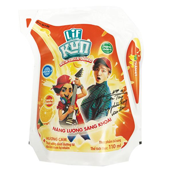 Sữa Chua Uống Tiệt Trùng Kun Cam Túi 110Ml