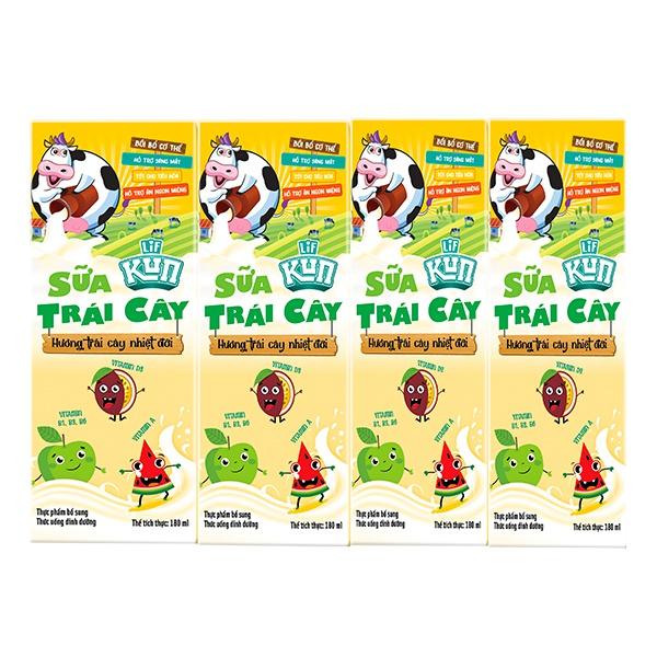 Lốc 4 Sữa Trái Cây Lif Kun Hương Trái Cây Nhiệt Đới 180Ml