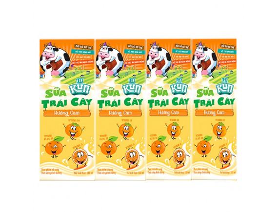 Lốc 4 Sữa Trái Cây Lif Kun Hương Cam 180Ml