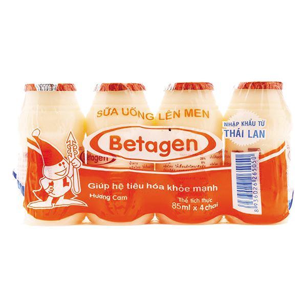 Lốc 4 Sữa Chua Uống Men Sống Betagen Cam 85Ml