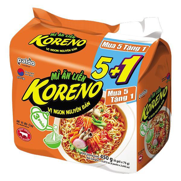 Lốc 5+1 Mì Koreno Vị Kim Chi Gói 75G