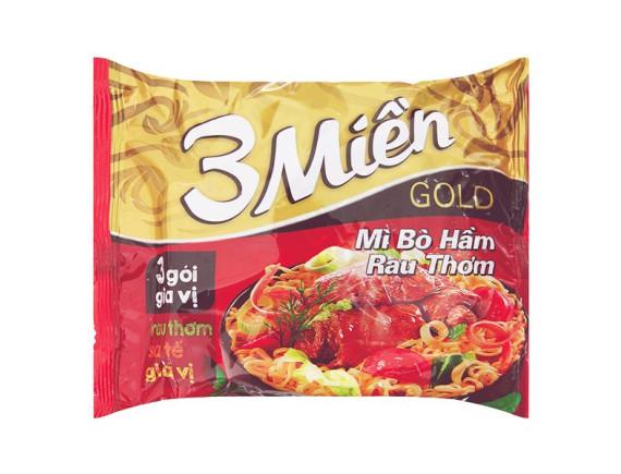 Mì 3 Miền Gold Bò Hầm Rau Thơm 75g
