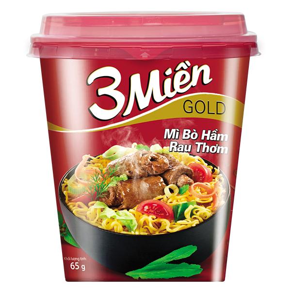 Mì Ly 3 Miền Gold Bò Rau Thơm 65G