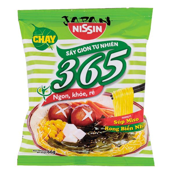 Mì Chay Nissin 365 Súp Miso Rong Biển 66G