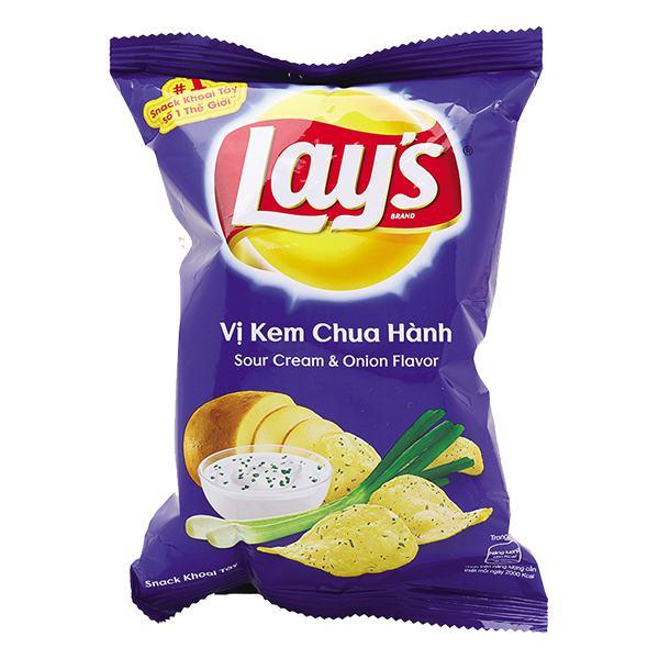 Snack Khoai Tây Lay's Vị Kem Chua Hành Gói 95G