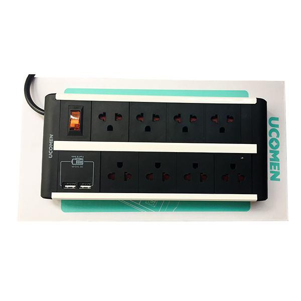 Ổ Cắm Điện Ucomen 8 Lỗ + 2 Cổng USB