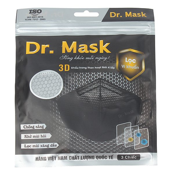 Khẩu Trang Carbon Than Hoạt Tính 4 Lớp Dr.Mask 3D Bịch 3 Cái