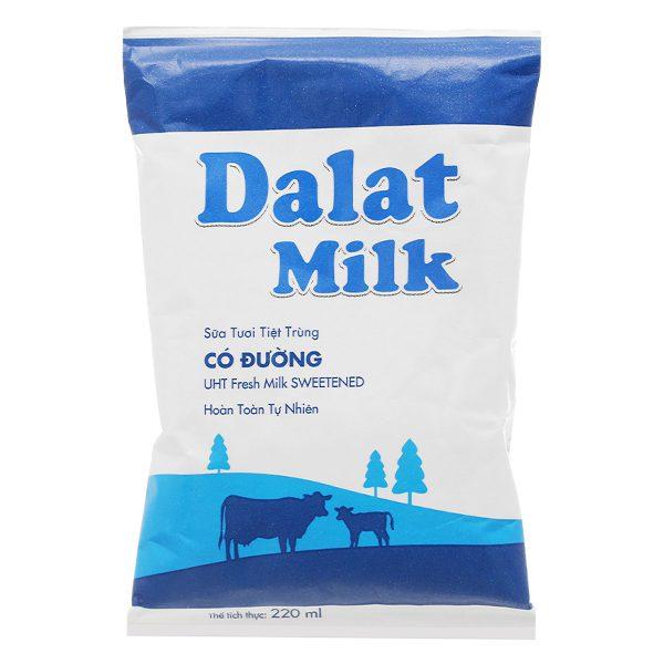 Sữa Tươi Tiệt Trùng Dalat Milk Có Đường Bịch 220Ml