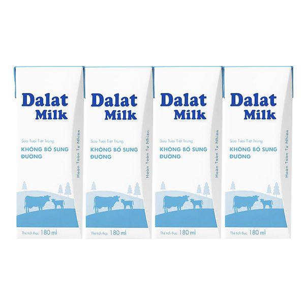 Lốc 4 Sữa Tươi Tiệt Trùng Dalat Milk Không Đường Hộp 180Ml