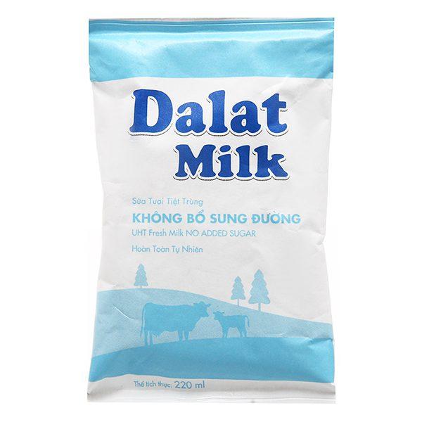 Sữa Tươi Tiệt Trùng Dalat Milk Không Đường Bịch 220Ml