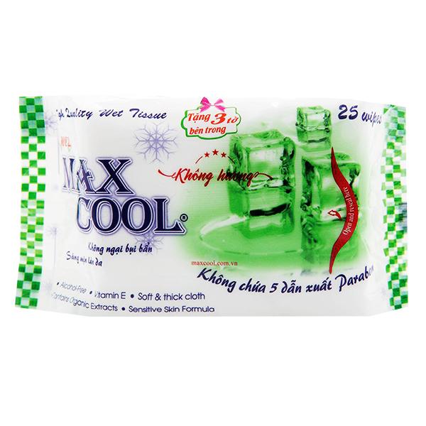 Khăn Ướt Max Cool Không Hương 25 Miếng