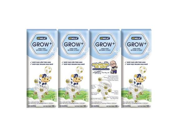 Lốc 4 Sữa Tươi Tiệt Trùng VPMilk Grow+ Có Đường Hộp 180Ml