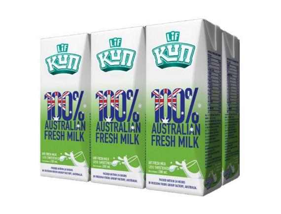 Lốc 6 Sữa Tươi Tiệt Trùng Lif Kun Ít Đường 200Ml