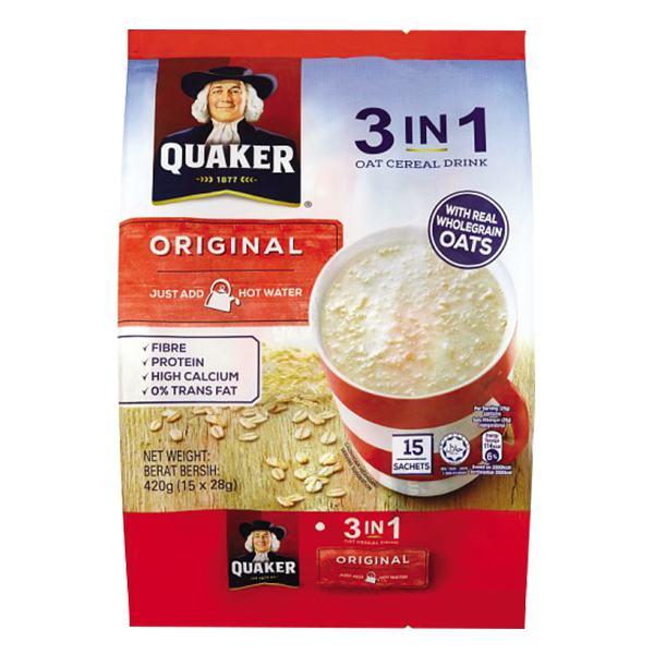 Thức Uống Yến Mạch Quaker 3in1 Original 15 Gói*28G