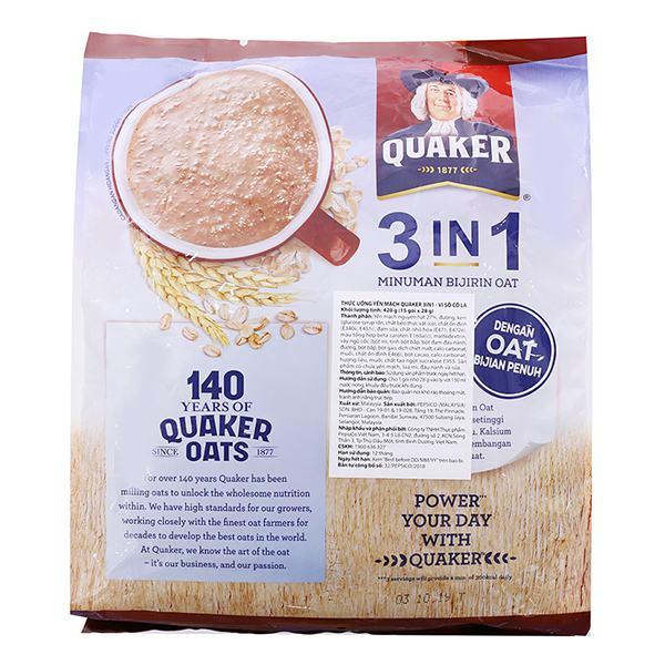 Thức Uống Yến Mạch Quaker 3in1 Chocolate 15 Gói*28G